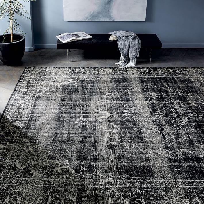 Black rugs caspian distressed rug black west elm IJHGXEF