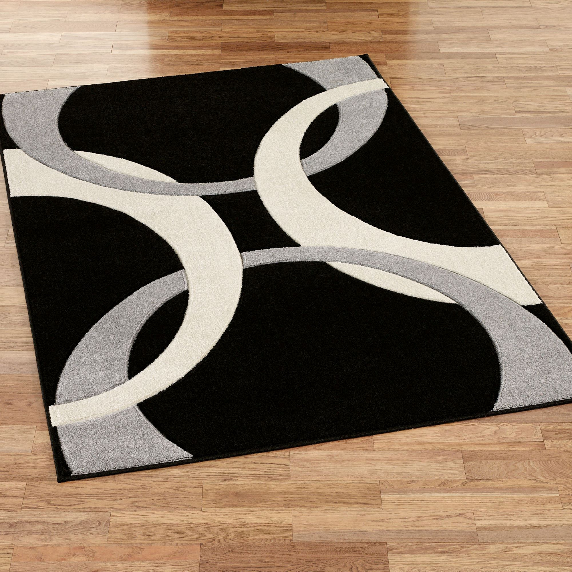 Black rugs corfu contemporary rectangle rug black LYRIMGT