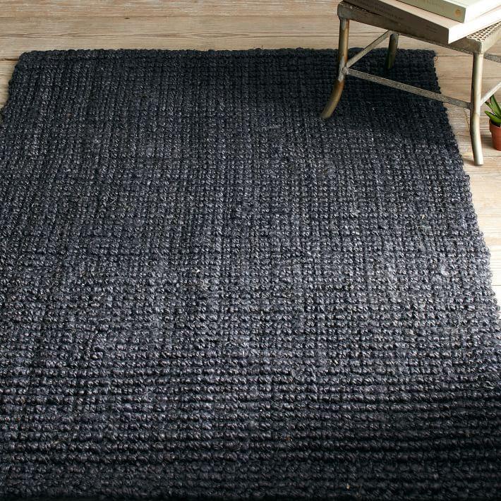 Black rugs view in gallery textured black jute rug from west elm DFDFOSF
