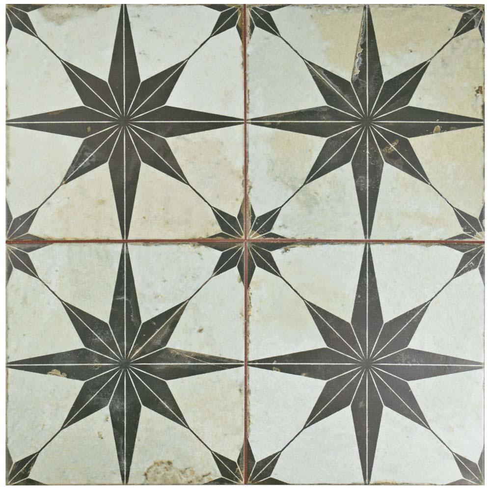 Ceramic floor tiles merola tile kings star nero 17-5/8 in. x 17-5 CPJPCQT
