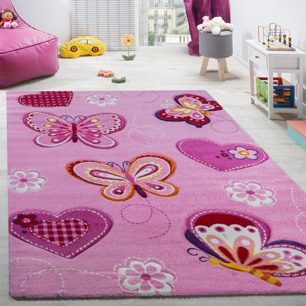 children rugs childu0027s bedroom rug childrenu0027s rug with butterfly motif contour-cut pink TBBPYGD