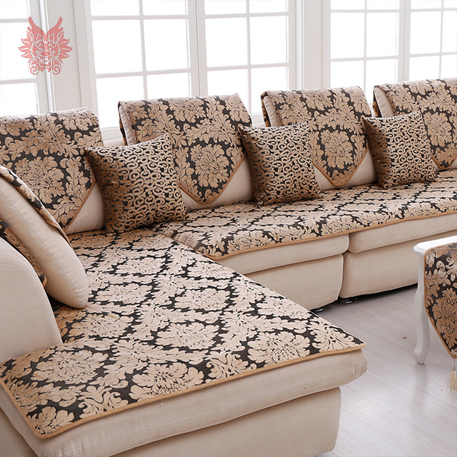 couch cover europe black gold floral jacquard terry cloth sofa cover plush sectional  slipcovers WIFZMFZ