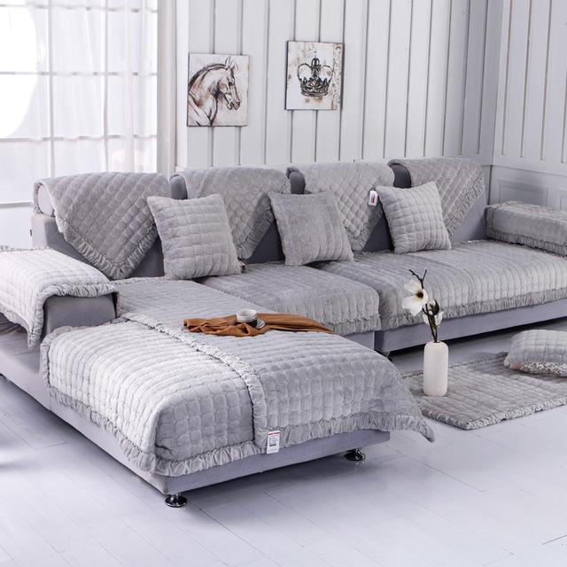 couch cover fleeced fabric sofa cover european style soft modern slip resistant sofa  slipcover KJRMQRY