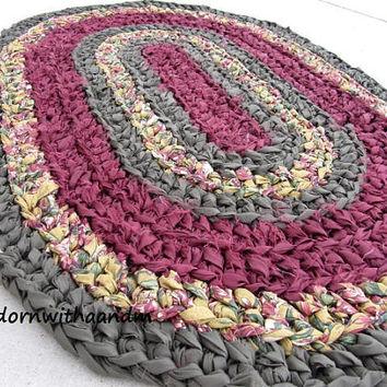 crochet rag rug royal oval crocheted rag rug, eco friendly, washable, bath mat, JBKVTBE