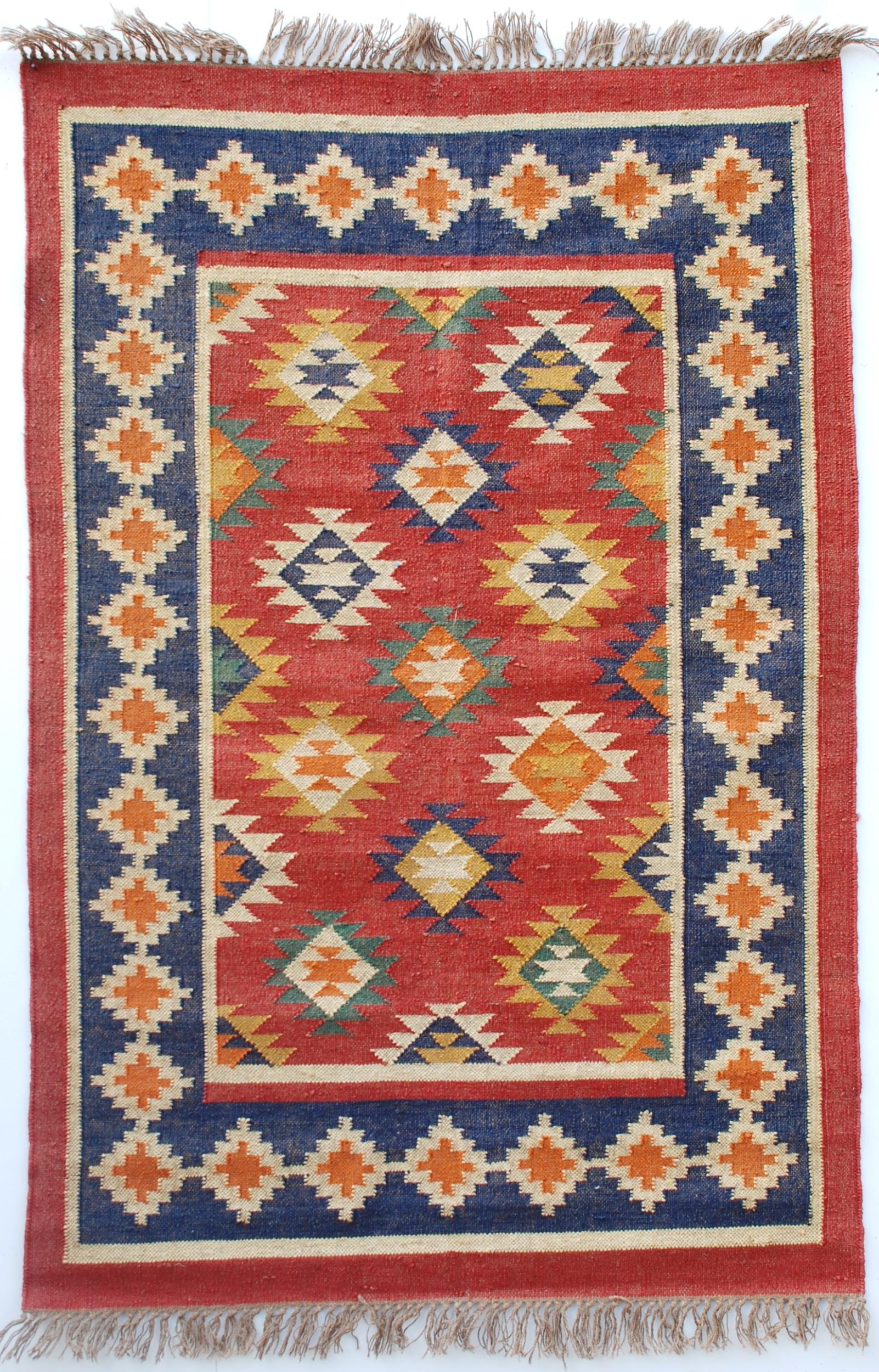 dhurrie rugs aztec-deep blue multi coloured dhurrie (rug) DKDMZBF