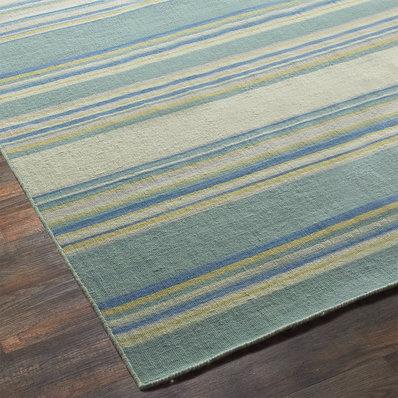 dhurrie rugs sea blues and greens stripe dhurrie rug CVCUITJ