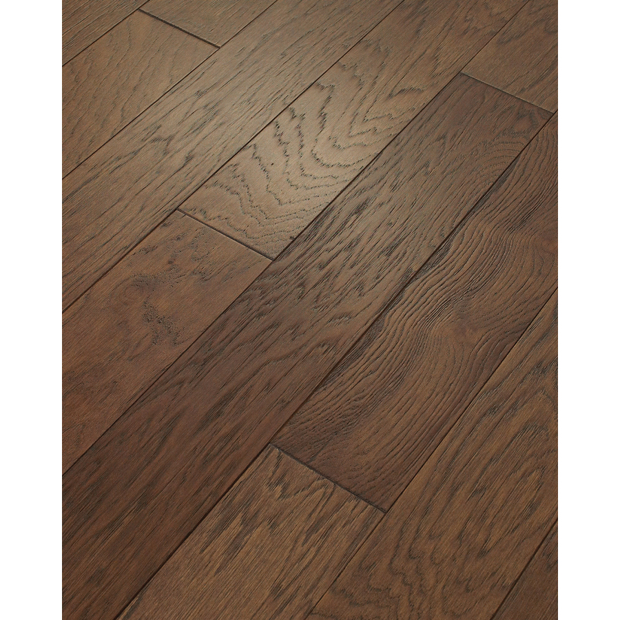 engineered flooring style selections 5-in mocha hickory engineered hardwood flooring (29.49-sq  ft) QAMKESD