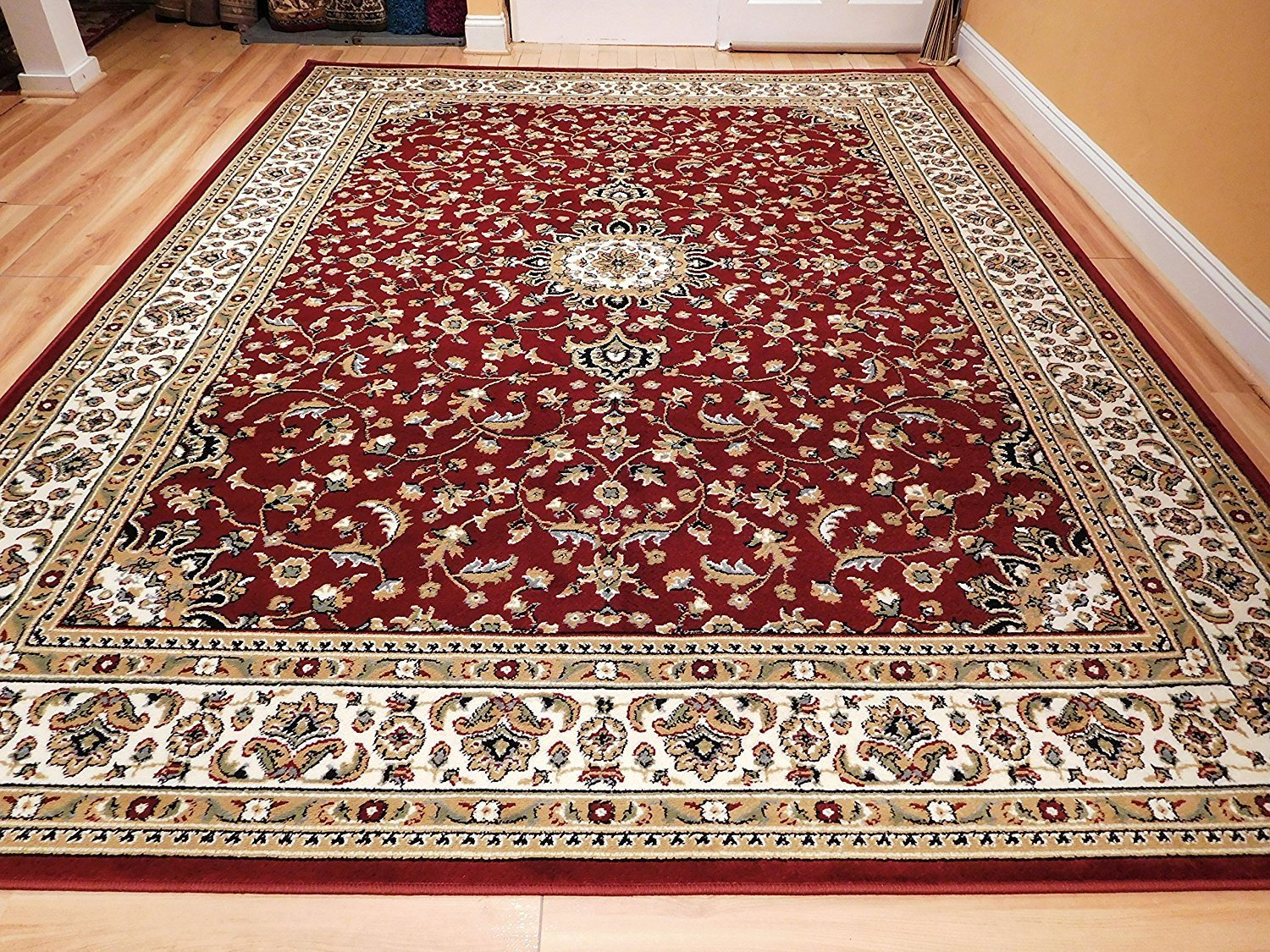 floor rugs amazon.com: large 8x11 area rug for living room red 8x10 traditional rug TWBBKNP