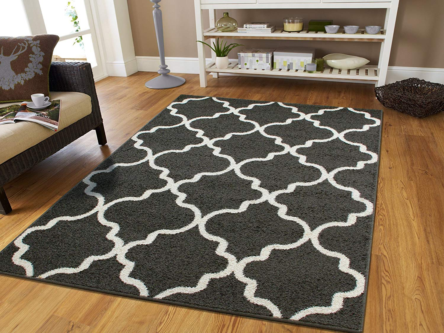 floor rugs amazon.com: large 8x11 morrocan trellis area rug gray contemporary rugs  8x10 for AZZYQSK