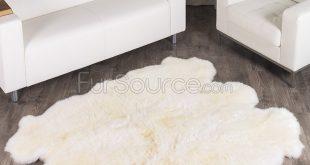 Fur rug 6 pelt eggshell white sheep fur rug (sexto) NQADMQB