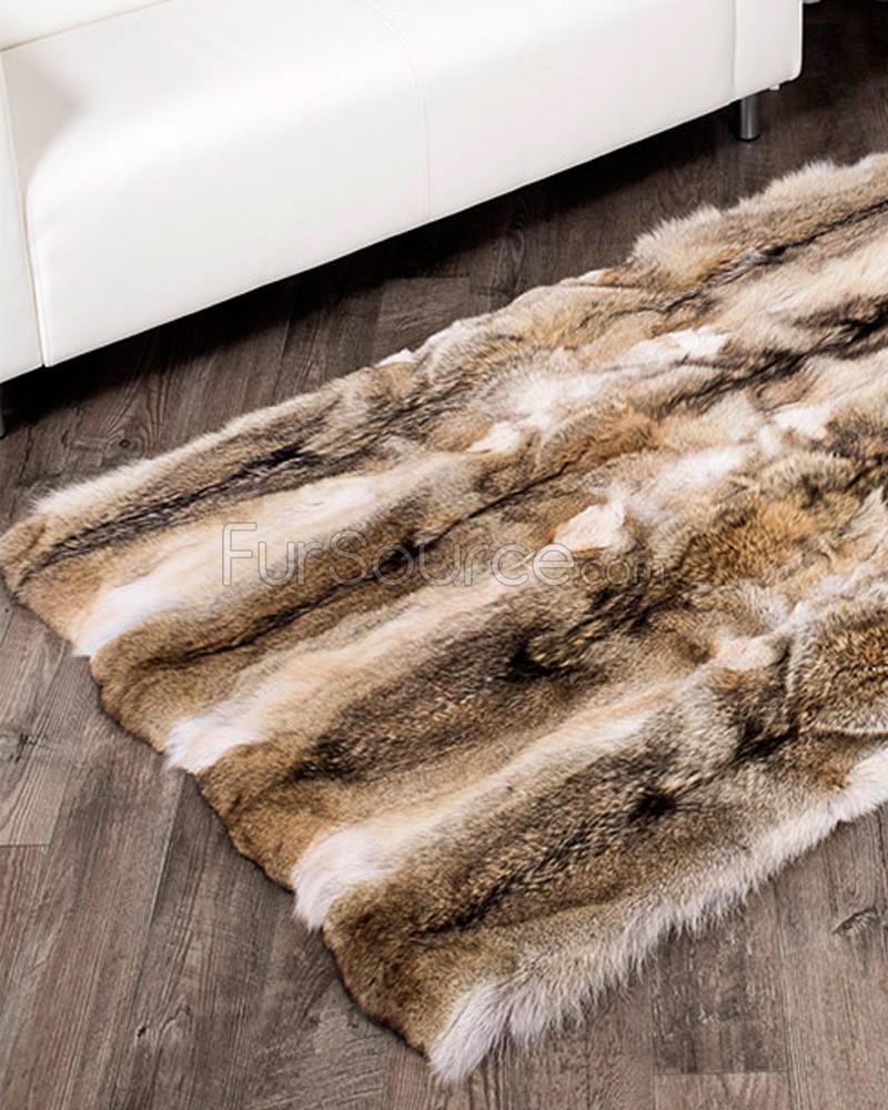 Fur rug coyote rug TVJUOQL