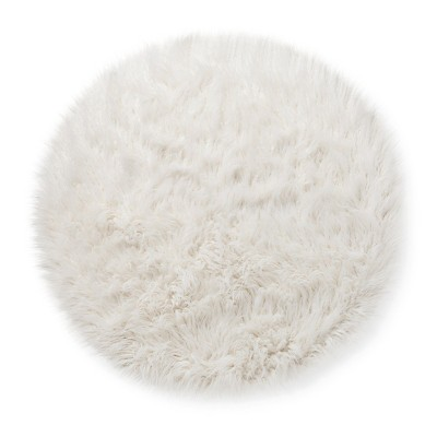 Fur rug faux fur rug (3u0027 round) white - pillowfort™ ERTNZKH