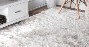 glam shag rug hand-loom glam shag pearl sheen white area rug FJWCNVW