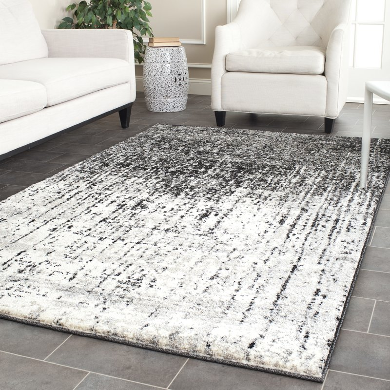 Grey rugs duron black/light grey area rug WOJUHDY
