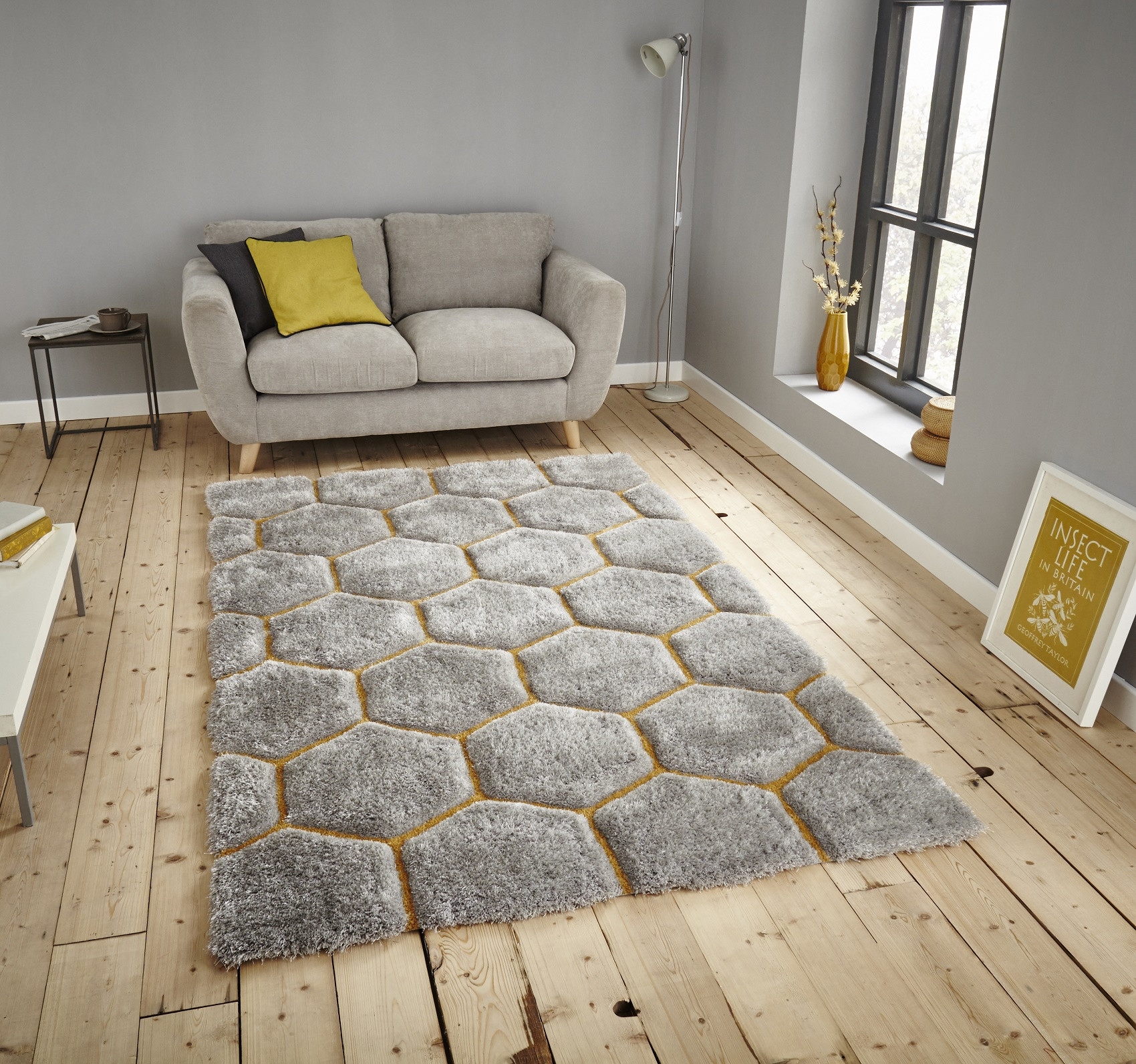 Grey rugs think rugs noble house nh30782 rugs grey/yellow GCYDZFN