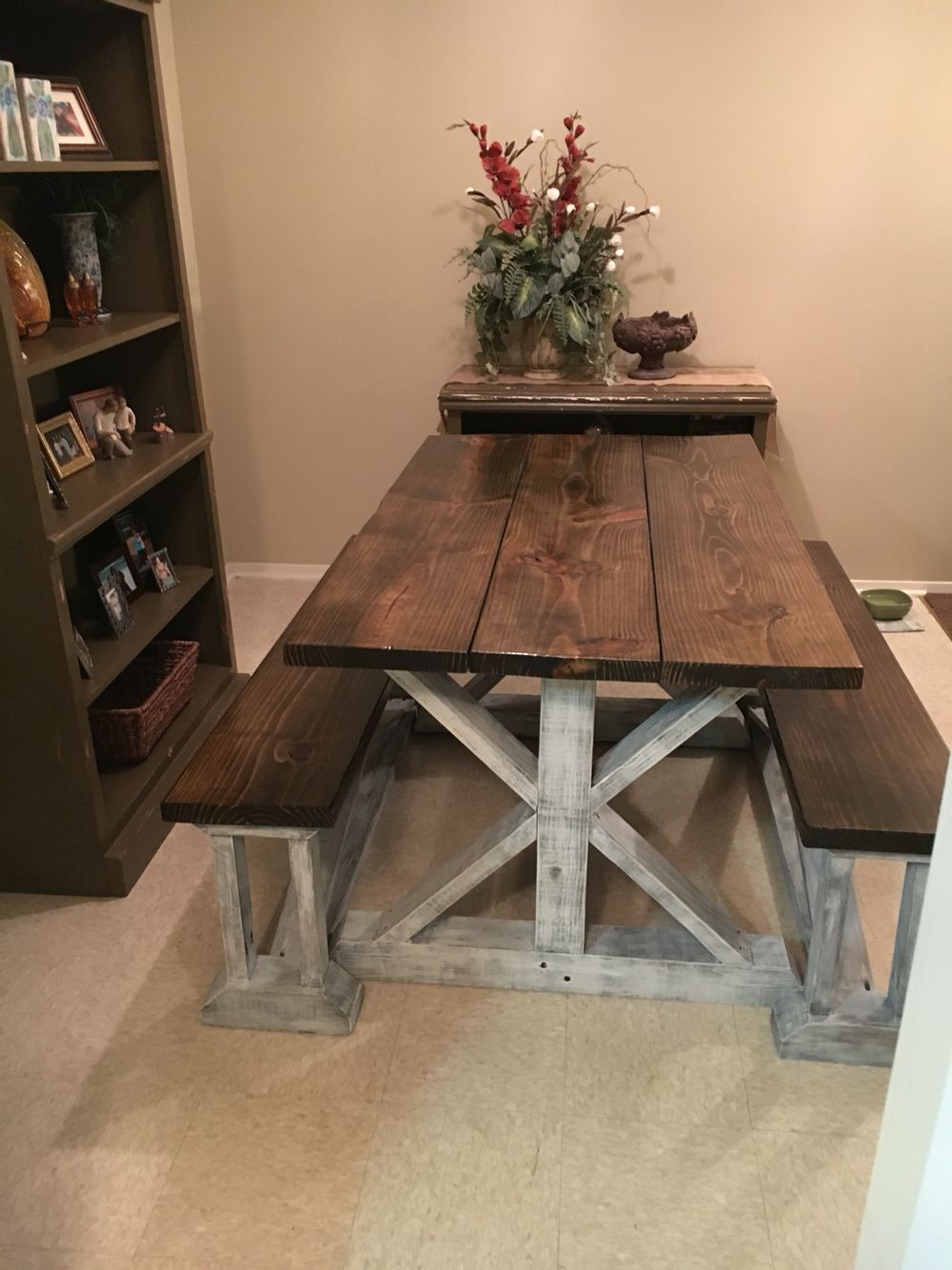 handmade farmhouse table with benches handmade furniture -  http://amzn.to/2iwpdj4 UPDBDWP