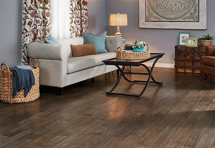 hardwood floor ideas engineered flooring with an aged look in a living room. ILQEEBW