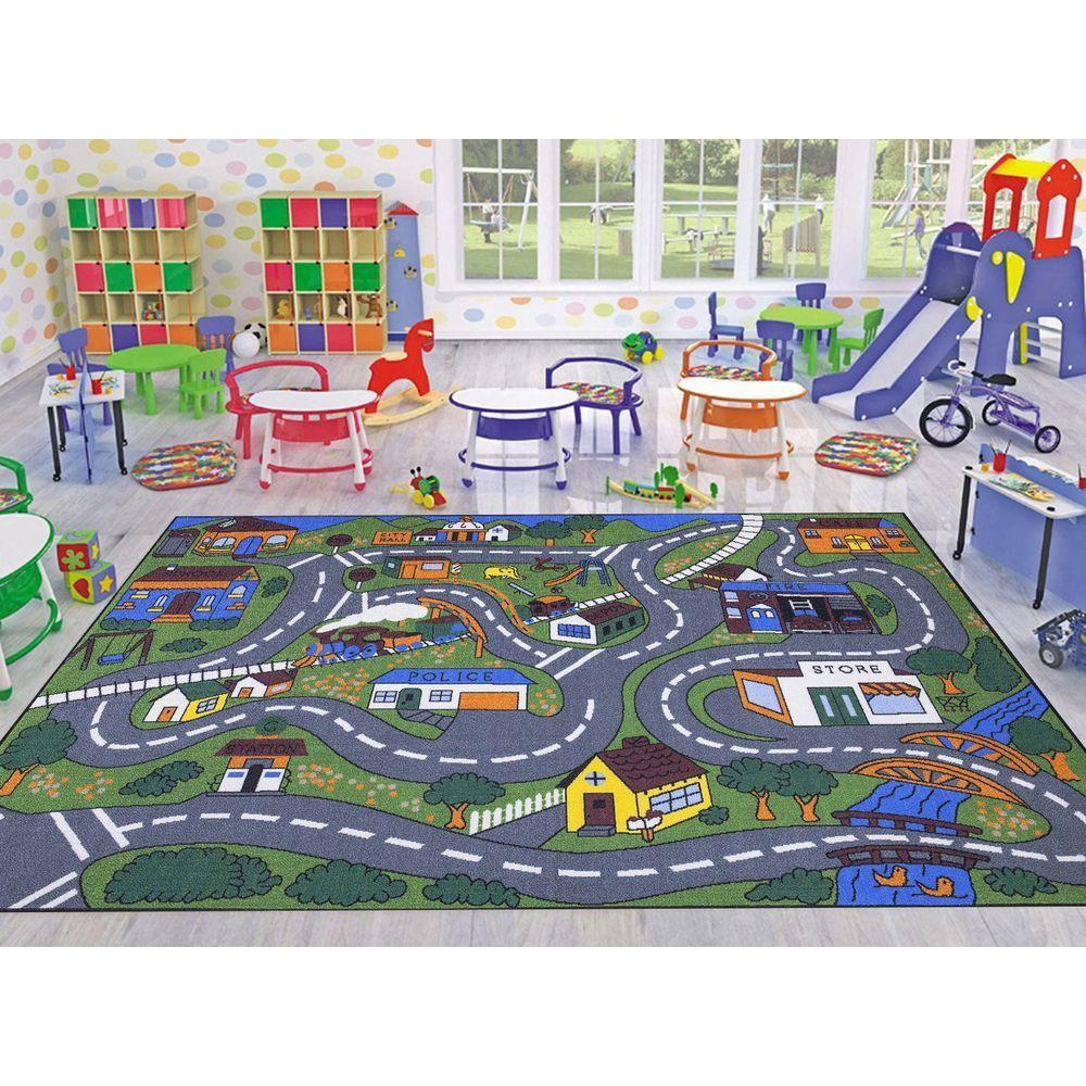 kids area rugs ottomanson jenny collection grey road traffic design 3 ft. x 5 ft. non- ZOOXJFD