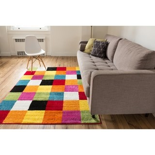 kids area rugs well woven bright geometric square multi kids area rug - 7u00279 x ... XLZNCAQ