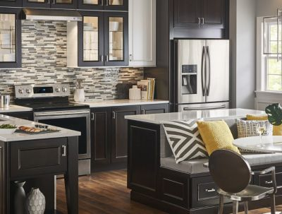 Kitchen Tile Ideas kitchen featuring linear mosaic tile backsplash in a variety of shades. JAQVKYM