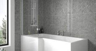 L shaped bath 1675 left hand l-shaped shower bath with 6mm shower screen and front panel CNAOCIY