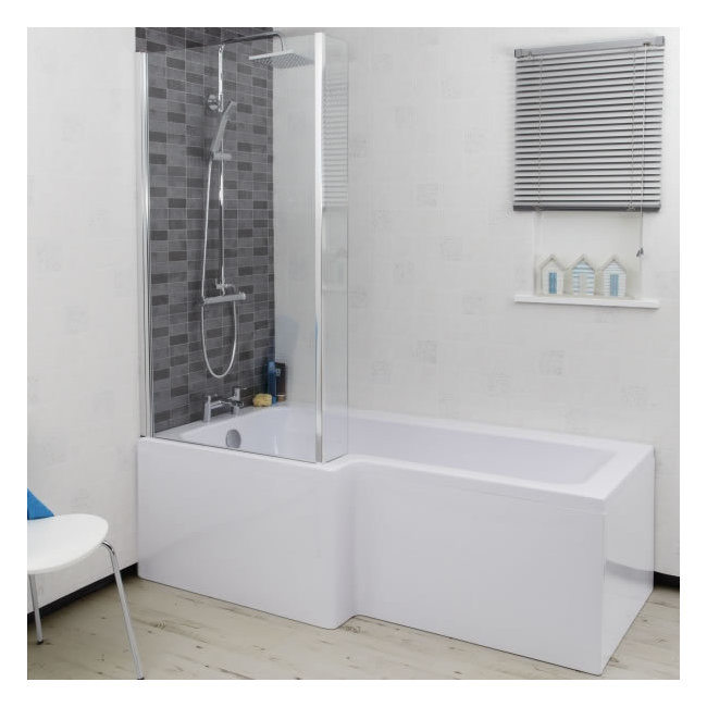 L shaped bath ceramica l shaped shower bath bundle 1700mm left hand FJRWVOD