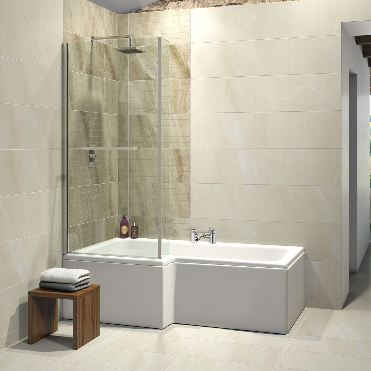 L shaped bath elite l-shaped 1500mm bath full kit left hand FZRAZGX