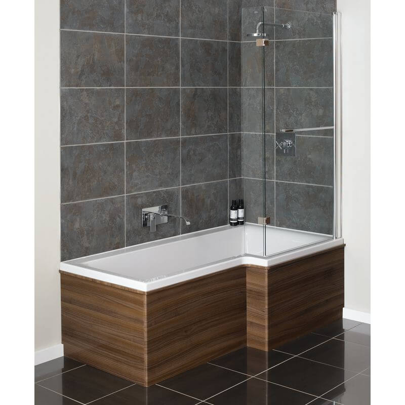 L shaped bath moods designer l shaped bath screen 815mm x 1500mm - qfl0016 UPAGTWO