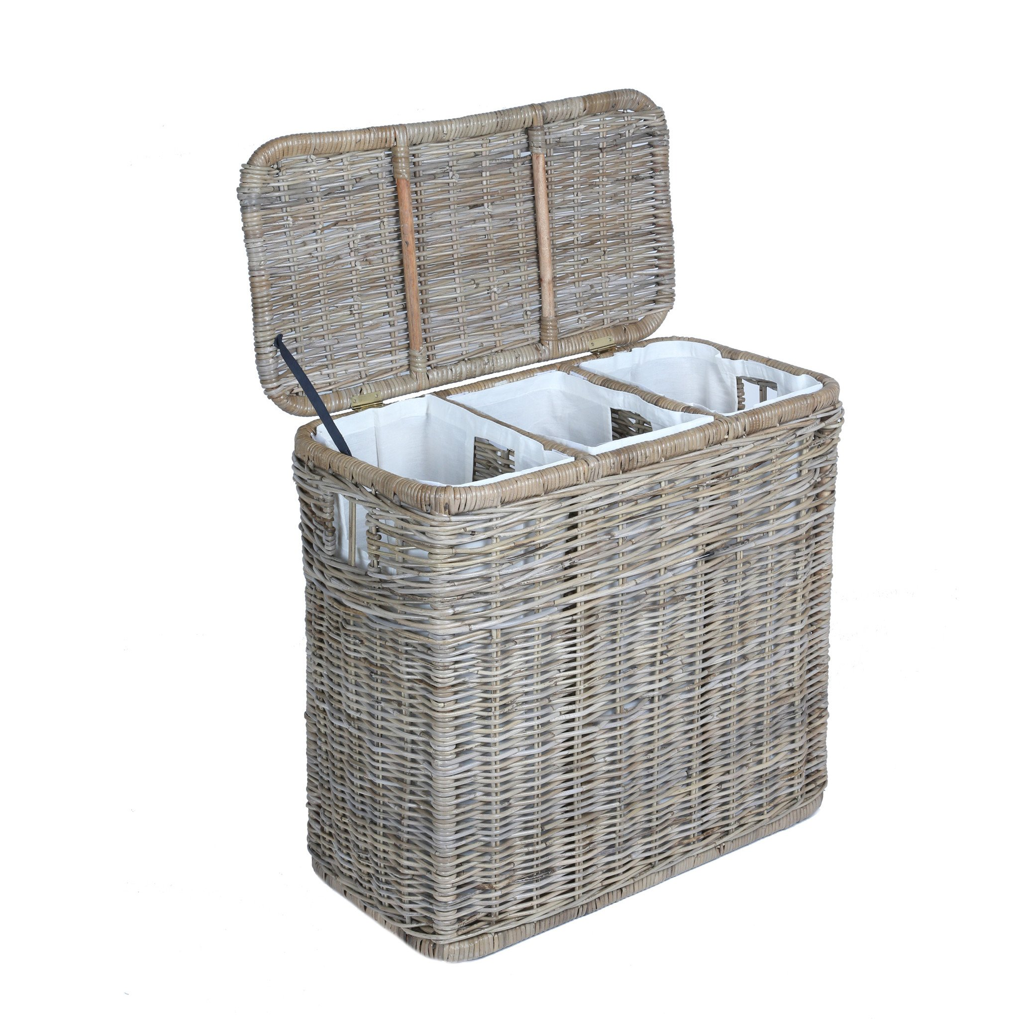 Laundry Basket 3-compartment kubu wicker laundry hamper in serene grey with lid open | the FGYNOAV