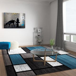 living room rug contemporary modern boxes blue/grey area rug - 7u002710 RIHAWQN