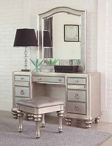 Mirrored Dressing Table image is loading glitzy-glamorous-platinum-mirrored-vanity-dressing-table -bedroom- PHDOJVV