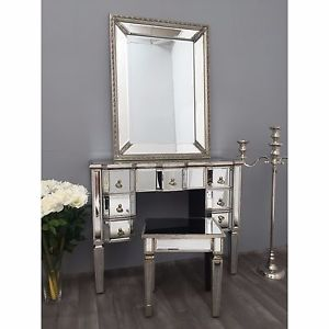 Mirrored Dressing Table image is loading mirrored-dressing-table -bedroom-furniture-vintage-antique-silver- VWGZTUC