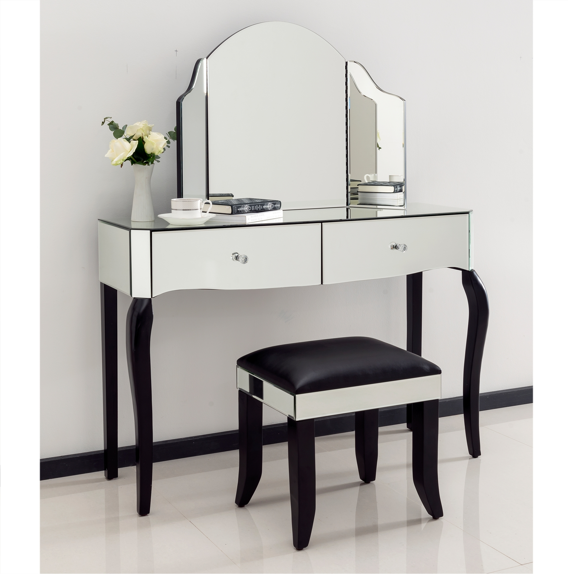 Mirrored Dressing Table romano crystal mirrored dressing table set UIFDYMW