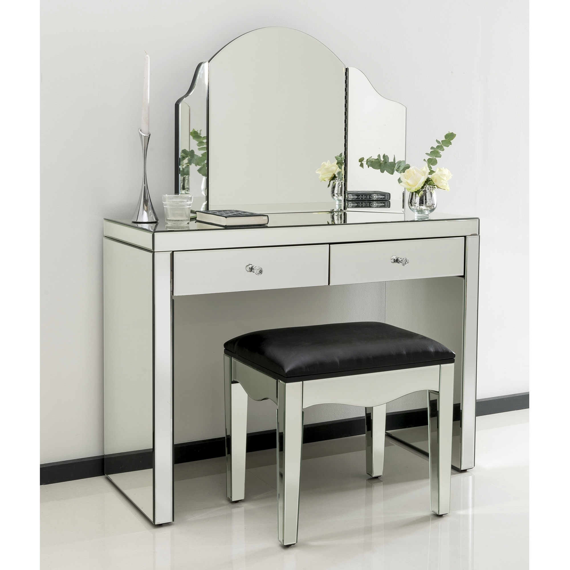 Mirrored Dressing Table romano crystal mirrored dressing table set ZXEADDA
