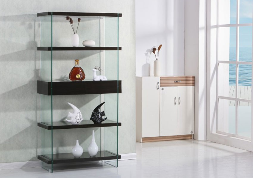 Modern Bookshelf armon modern bookshelf with glass sides NXZXWUU