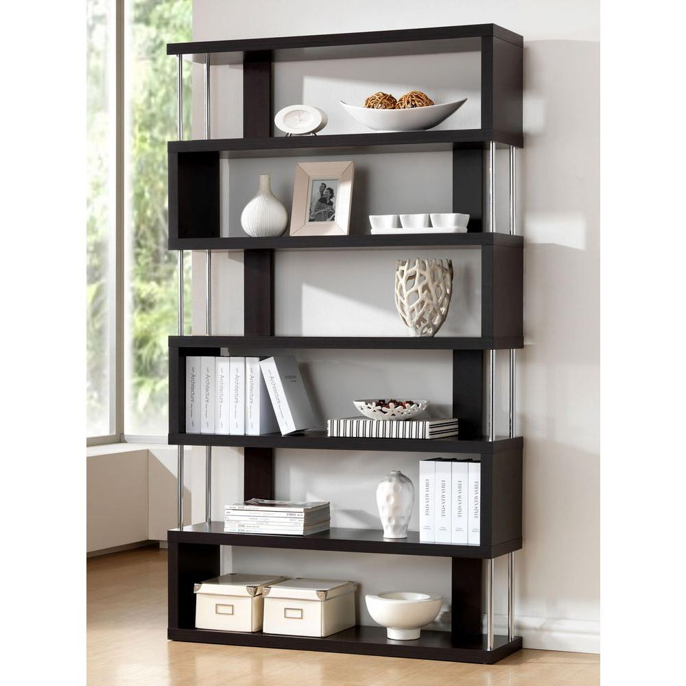 Modern Bookshelf baxton studio barnes dark brown wood 6-tier open shelf AWKRXKT