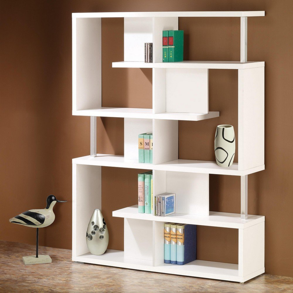 Modern Bookshelf image is loading coaster-bookshelf-modern-white-finish-home-office-bookcase- CNTLAOQ
