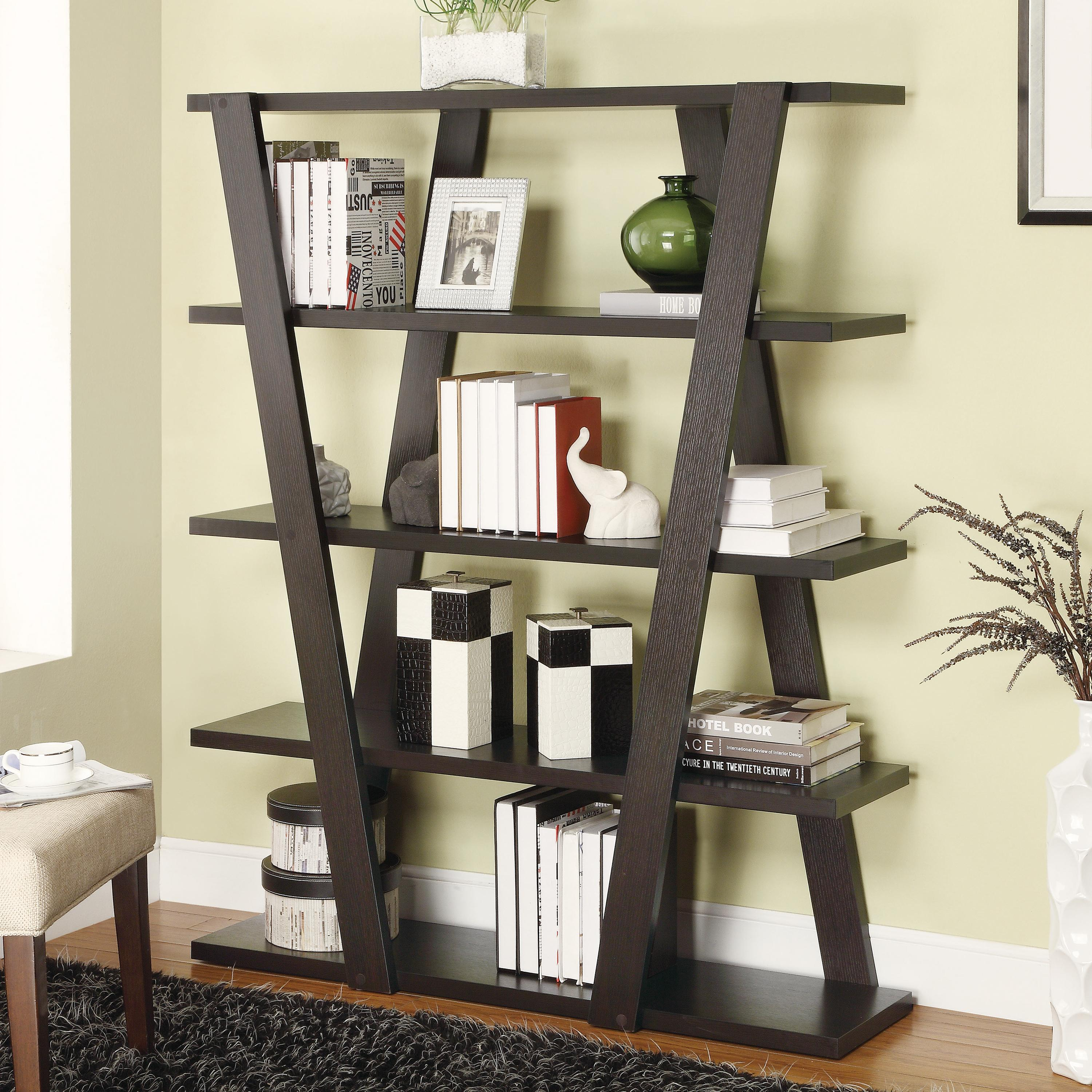 Modern Bookshelf modern bookshelf with inverted supports u0026 open shelves - bookcases by  coaster AGQUBVQ