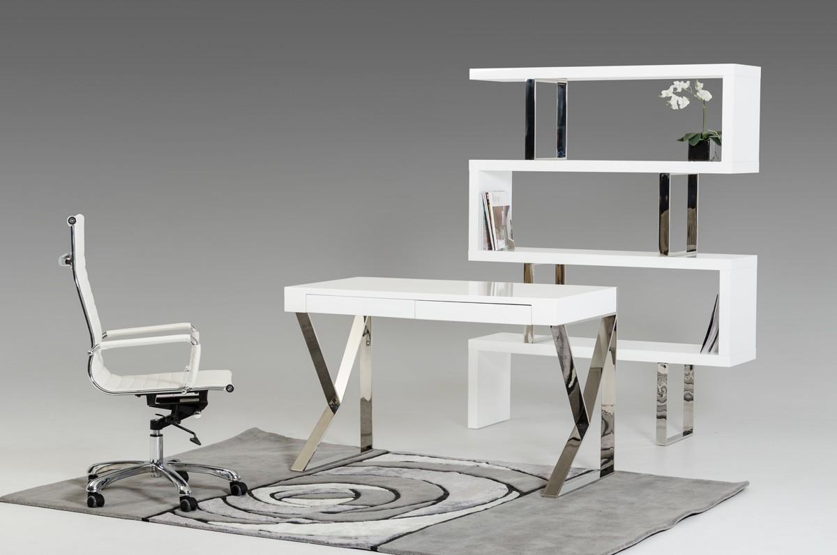 Modern Office Desk modrest ferris modern white lacquer office desk ... AOSTLIJ