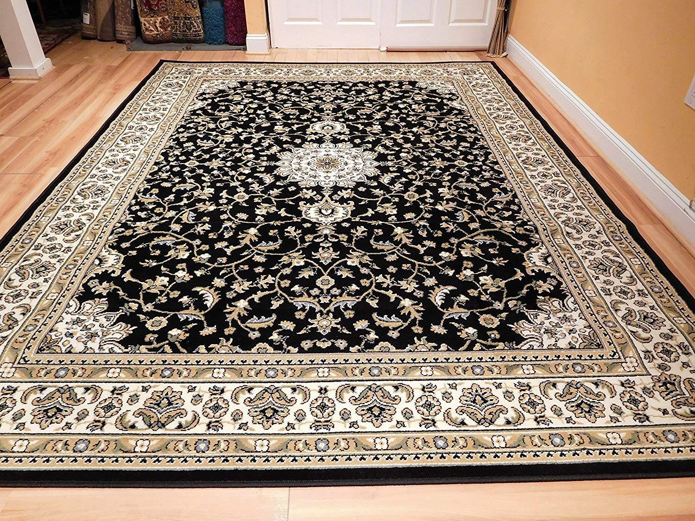 Oriental rugs amazon.com: black 8x11 persian rug oriental rugs 8x10 area rug traditional  living HYZBYUJ