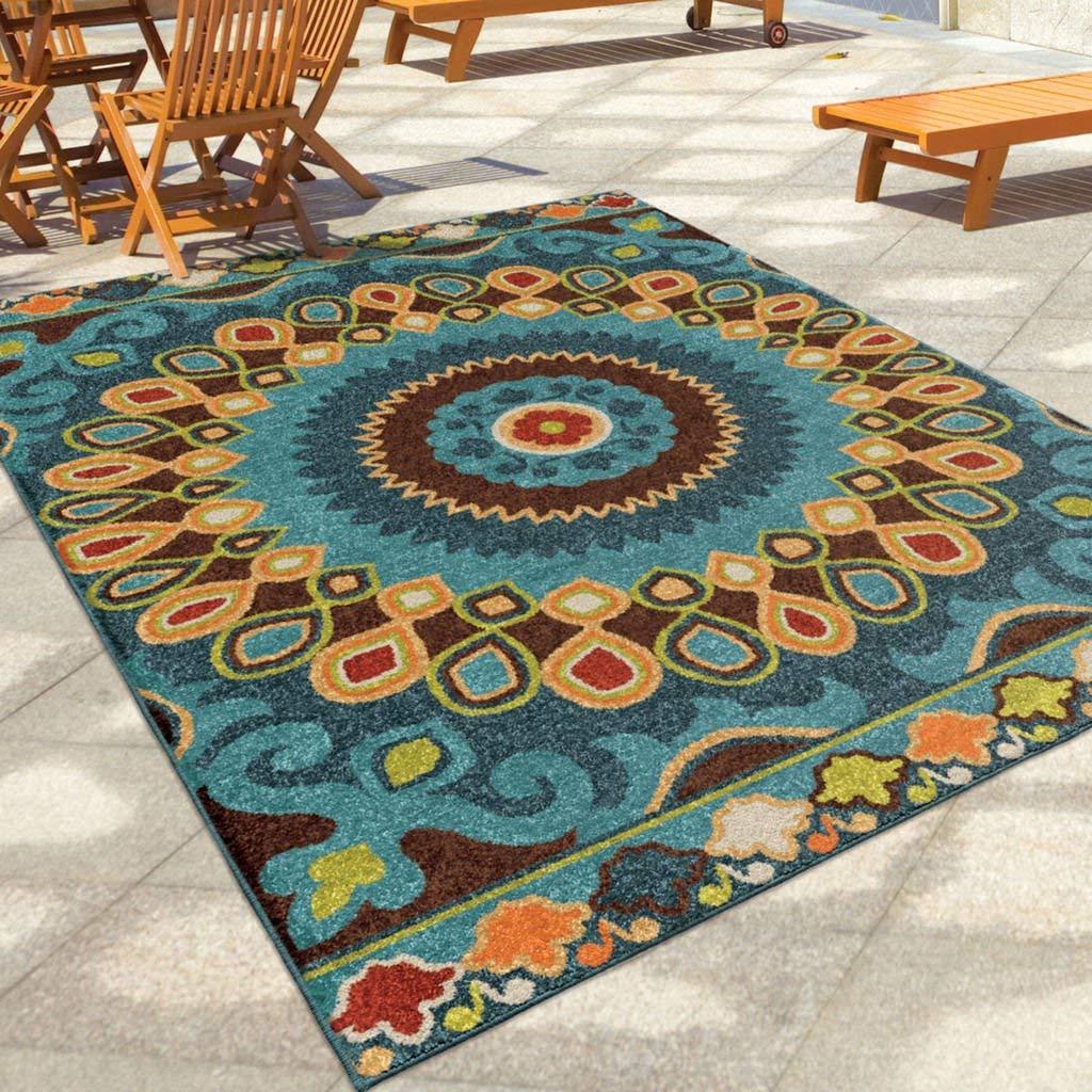 outdoor area rugs amazon.com: contemporary, bohemian style 5u0027 x 8u0027 indoor/outdoor stain  resistant geo bongkok WXCNERT