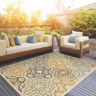 outdoor area rugs carson carrington huddinge floral ivory/grey indoor-outdoor area rug DYFILFI