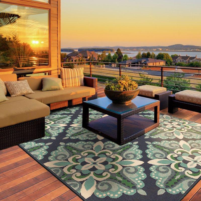 outdoor area rugs kailani contemporary blue/green indoor/outdoor area rug EUWTDRW