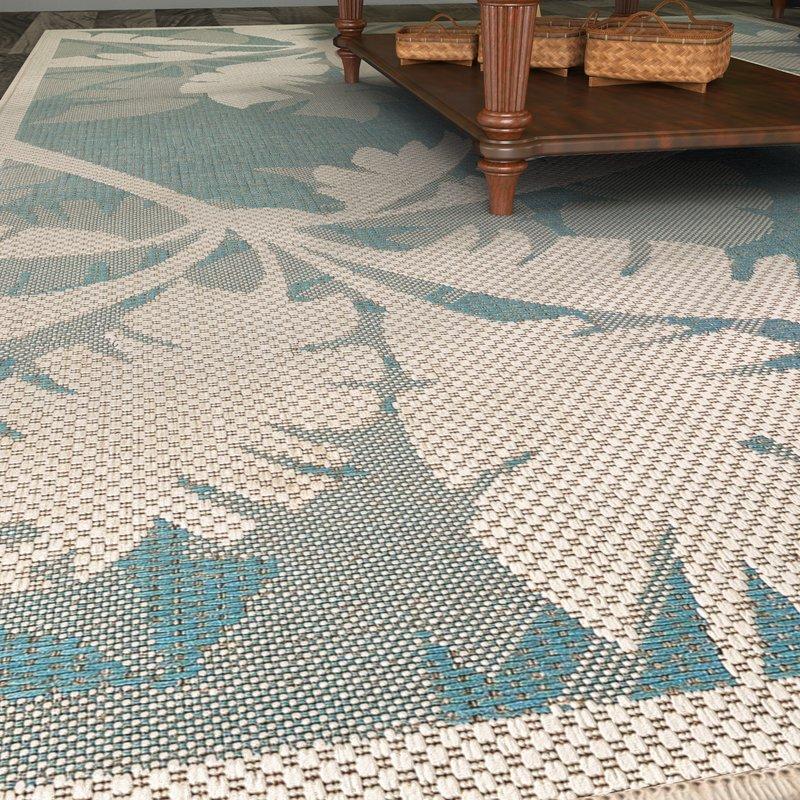 outdoor area rugs odilia coastal flora ivory/turquoise indoor/outdoor area rug TSLTRHI