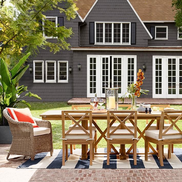 outdoor rug under patio table patio stripe indoor/outdoor rug, dress blue | williams sonoma AVEUCIX