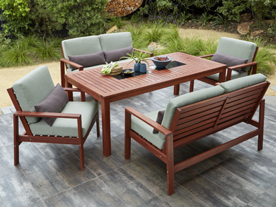 Outdoor Settings del terra 5 piece bradley dining lounge setting SEWYVSF