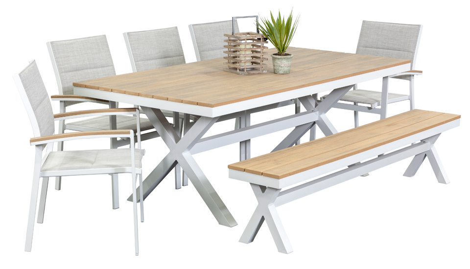 Outdoor Settings granada 5 seater with bench, outdoor dining furniture, outdoor dining  settings, outdoor RFKNSNN