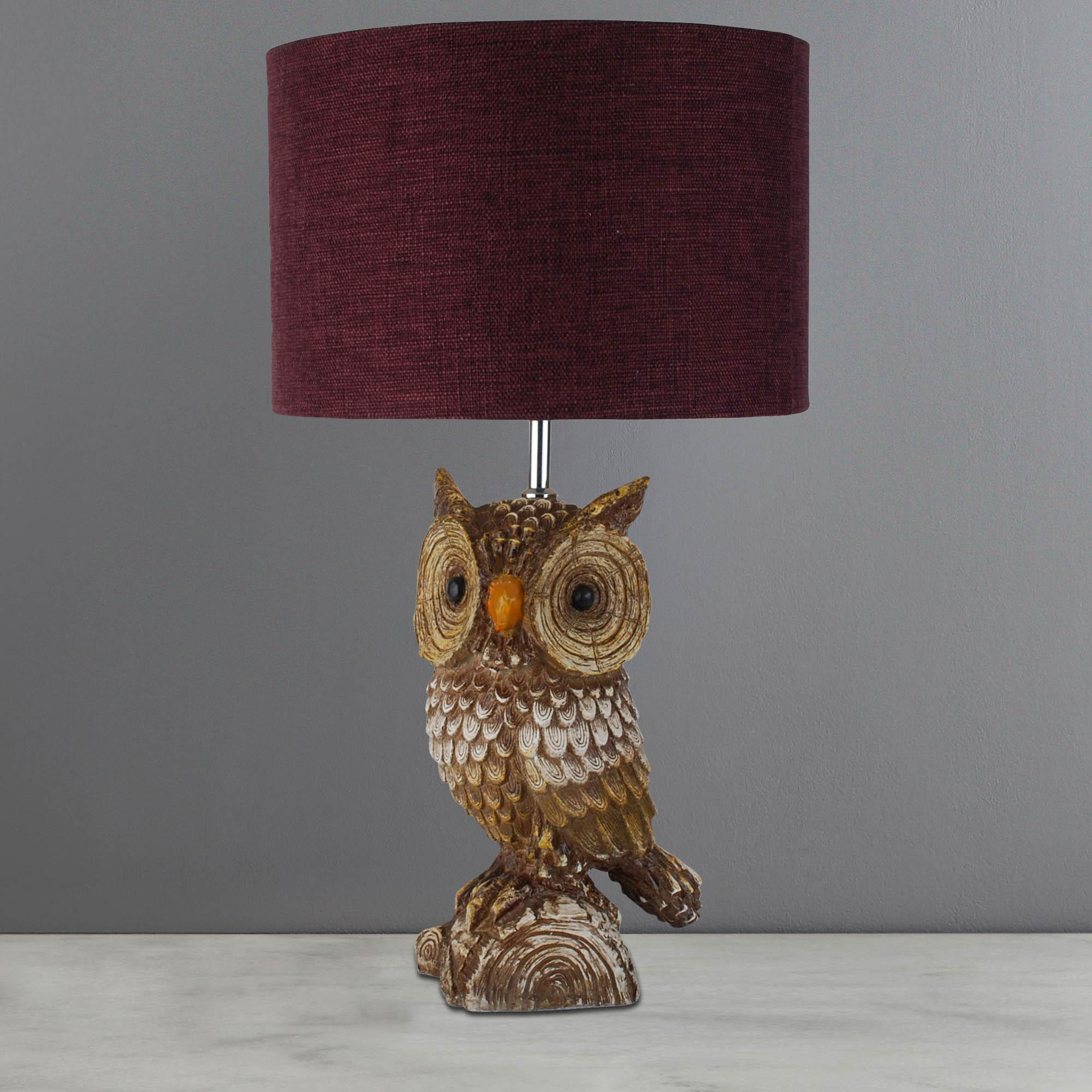 Owl Lamp capri rustic owl table lamp burgandy QYXULMC
