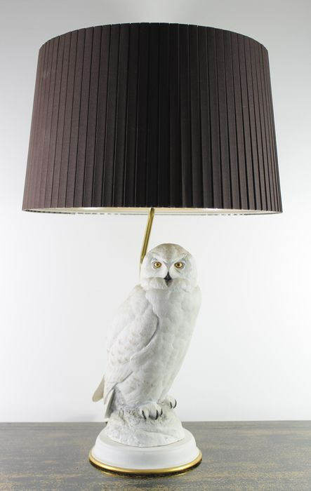 Owl Lamp franklin mint - the snowy owl - table lamp in biscuit - porcelain ENSTTDL