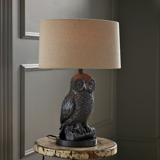 Owl Lamp owl table lamp - gunmetal/natural ZEYMRKT